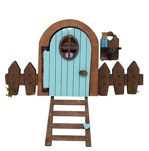 Puerta Ratoncito Pérez azul que se abre, con polvo mágico que brilla,...