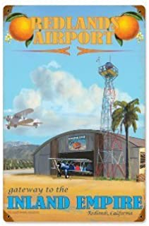 Past Time Signs VG016 Redlands Airport Aviation Vintage Metal Sign