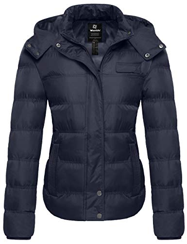 Wantdo Women's Quilted Winter Parka Coat with Removable Hood Outwear Navy Small