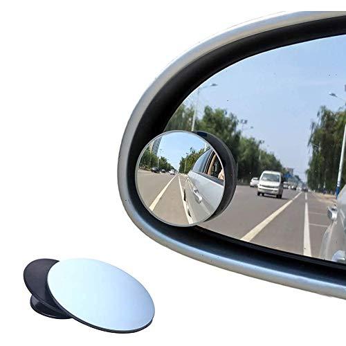 Pubiao Retrovisores de ángulo muerto para coche Forma redonda Gran angular Espejo ala de coche Giratorio 360° Impermeable Convexo Punto ciego Stick en lateral 2 piezas para automóviles universales