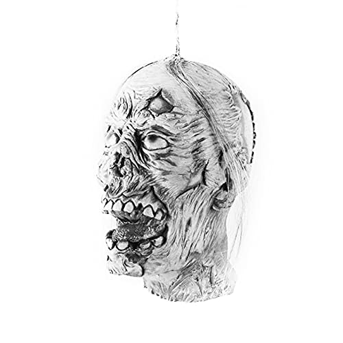 QKFON Adorno colgante de cabeza de momia de Halloween, espeluznante para Halloween, Halloween, fantasma, colgante de cabeza de fantasma, para el hogar, casa encantada, decoración de bar