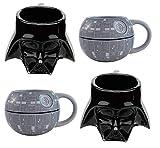 Star Wars 3D Sculpted Ceramic Mug 4 Piece Set - Darth Vader and Death Star