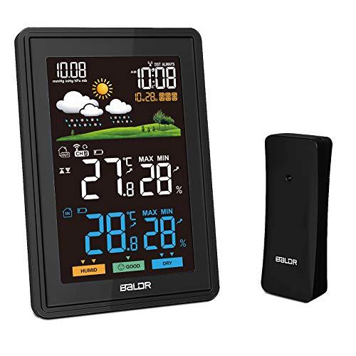 Wetterstation Funk mit Außensensor, Innen & Außen Thermometer mit Wettervorhersage, Temperatur & Feuchtigkeitsanzeige, Zeitanzeige, DCF-Funkuhr, Hygrometer für zu Hause Büro Hausgärten
