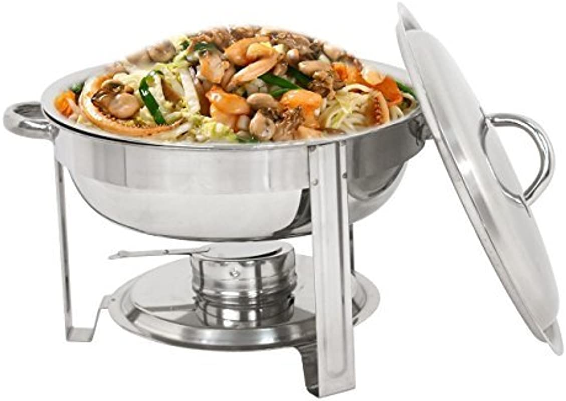 ZENY Stainless Steel Round Chafing Dish 5 Quart Tray Buffet Catering Round Buffet Servers Full Size Dinner Serving Buffer Warmer Set