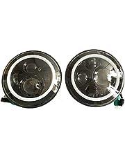SXMA Emark 17,8 cm ronde LED-koplamp oranje met dagrijverlichting halogeen (2 stuks)