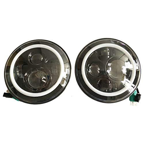 SXMA Fari Emark da 7 pollici con LED rotondo e ambra DRL Indicatori di direzione Halo Hi / Lo Fanale led con LED per Wrangler JK (2 pezzi)