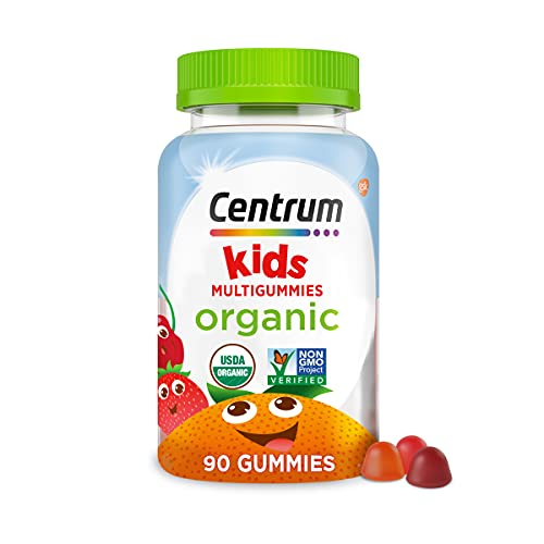 Centrum Kids' Organic Multigummies, Kids Multivitamin Gummies, Organic Multivitamin for Kids with Essential Nutrients for Immune Support, Muscle Function, and Brain Health - 90 Count