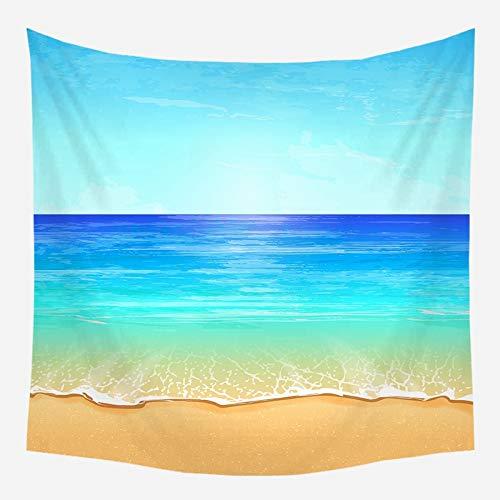 Sol mar tapiz océano playa colgante de pared paisaje de agua decoración de la playa paño de pared nube azul tela de fondo de espuma azul a6 73x95cm