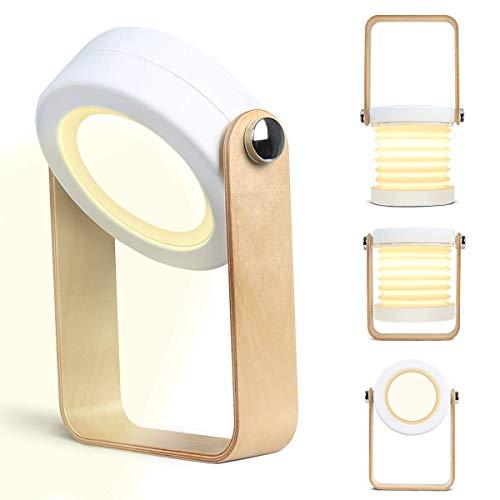 Kakanuo Tischlampe in Form einer Laterne, Bettlampe, mit variabler Form, taktiler Schalter, USB-Aufladung, dimmbar, dreiteilige Tischlampe zum Lesen, für Camping, Nachtlicht