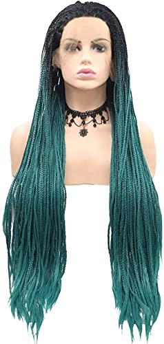 Pelucas Pelucas trenza larga peluca de pelo moda tejida a mano de dos colores degradado de dos colores grueso de la trenza de la trenza de la trenza química de fibra delantera de fibra delantera peluc