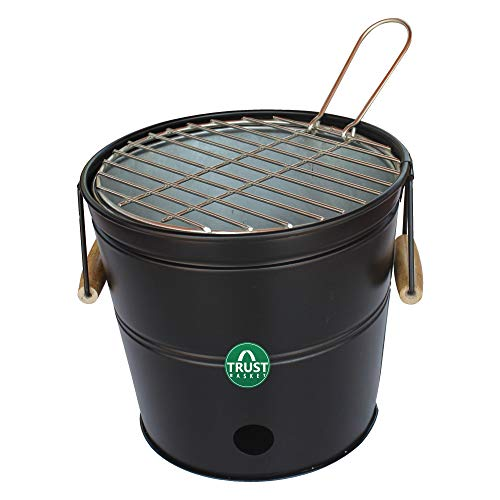 TrustBasket Portable Barbeque Bucket Set –Round Portable Charcoal BBQ Barbeque for Indoor/Outdoor and Multiuse (Black)