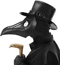 PartyHop Black PU Leather Plague Doctor Mask, Halloween Long Nose Bird Beek Steampunk Gas Latex Face Mask, Party Cosplay Costume Prop for Kids and Adult P16