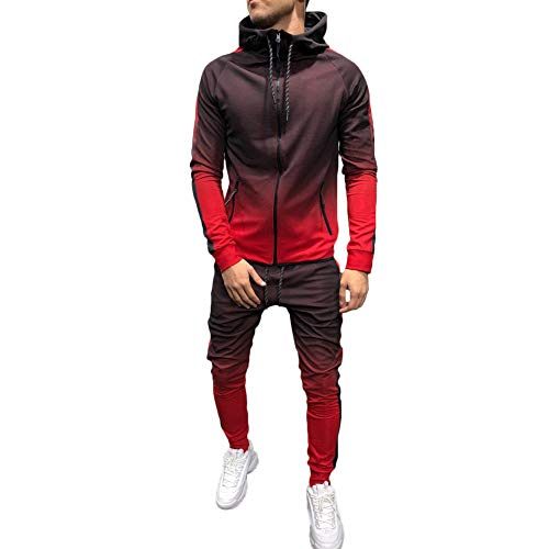 Men's 2 Pieces Gradient Long Sleeve Full Zip Hooded Pullover Sweater and Long Pants Set Gym Tracksuit Jogging Set Activewear Sports Clothing Set (M, red)