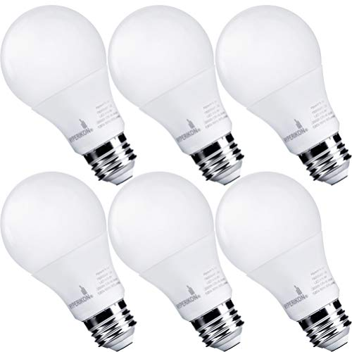 Hyperikon Dimmable LED Light Bulbs, A19 60 Watt Equivalent LED Bulbs, 9W, 4000K Daylight, UL, 6 Pack