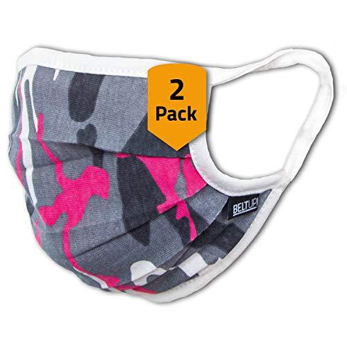 Facetex 2er-Pack Mundschutz Kinder Junge & Mädchen waschbar, Camouflage | aus 100% Baumwolle Oeko-TEX 100 Standard Earloop-Design | Wiederverwendbare Behelfs-Abdeckung für Mund Nase | Größe M