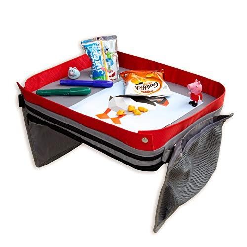 Kids E-Z Travel Lap Desk Tray by Modfamily - Universal Fit for Car Seat, Stroller & Airplane - Organized Access to Drawing, Snacks, and Activities. Includes Bonus Printable Travel Games - (Red)