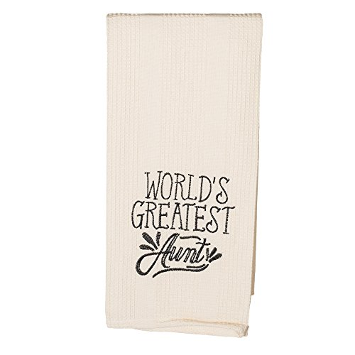 The Country House Collection World's Greatest Aunt 19 x 28 All Cotton Embroidered Waffle Kitchen Towel