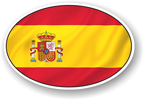 Oval Design mit Spanien Spanische National Flagge Motiv für Motorrad Auto Van Aufkleber 120x 80mm