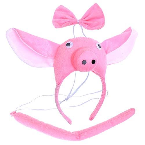 Lot hoofdband - varken - staart - dieren - vrouw - kinderen - kostuum - vermomming - carnaval - halloween - accessoires - cadeau-idee voor kerst en verjaardag papillon cosplay