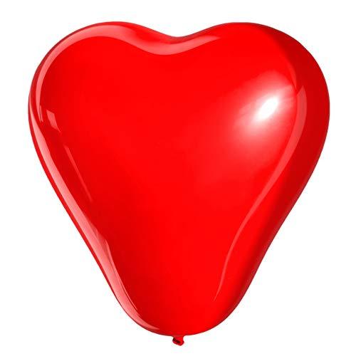 MBW Globos con forma de corazón, color rojo, diámetro 25 cm, 50 unidades, globos con forma de corazón, decoración para bodas