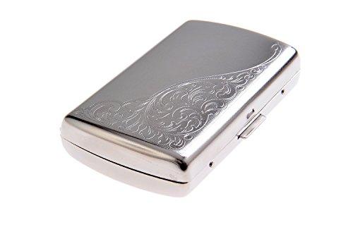 Portasigarette in acciaio inossidabile, con elegante tema a viticcio nell'angolo, tiene fino a 12 sigarette, Mod. 792-01 (DE)