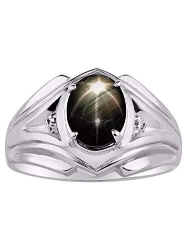 Rylos Einfach eleganter schöner schwarzer Sternsaphir & Diamantring
