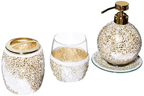 Juego de Accesorios de baño de Mosaico, 4 Piezas de Accesorios de baño con dispensador de jabón Dorado, Soporte para Cepillo para Polvo de Dientes, Vaso y Bandeja para Anillos