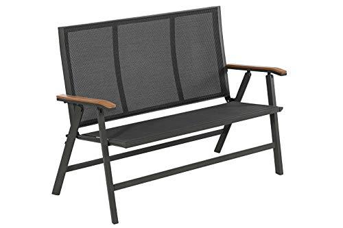 Dehner Klappbank Colmar, 3-Sitzer, ca. 114 x 99 x 61.5 cm, Aluminium/Textilene/FSC Teakholz, grau