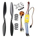 abcGoodefg 1000KV RC Brushless Motor A2212 13T with 30A Brushless ESC Set 1045 Propeller CW CCW Accessories Kit Mount for RC Plane DJI F450 550 Quadcopter