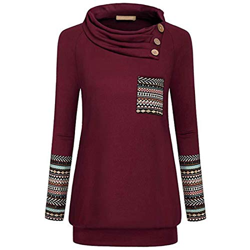 PAOMO Damen Tunika Tops Turtleneck Langarm Shirts Bluse Hemd Pullover Mit Taschen...