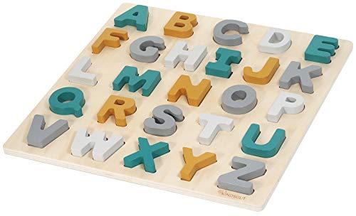 Kindsgut ABC-Puzzle, Buchstaben Holz-Puzzle in dezenten Farben, umweltfreundliche Materialien, frei von Schadstoffen, Caspar