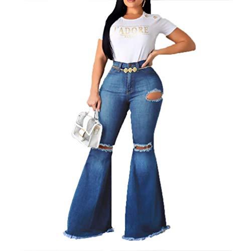 BLACKbiubiubiu Womens Bell Bottom High Waisted Retro Jeans Retro Ripped Stretchy Ripped Pants Denim Loose Hem Denim Plus Size for Women
