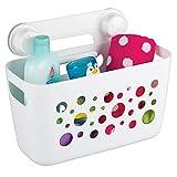 mDesign großer Duschkorb zum Hängen - perfekte Duschablage für Kinderspielzeug, Shampoo, Schwämme & sonstiges Duschzubehör - Duschregal mit Saugnapfen für Dusche & Badwanne - weiß