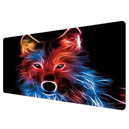 Extended Mouse Pad Large Gaming Mouse Pad- 35.4x15.7inch Computer Keyboard Mouse Mat Non-Slip Mousepad Rubber Base and Stitched Edges for Game Players, Office, Study (Wolf/03)