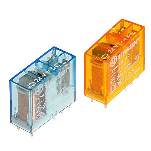 Steckrelais Finder Typ 40.52, 2 Wechsler, 24V DC-sensitiv 0,5W-21mA, 8A