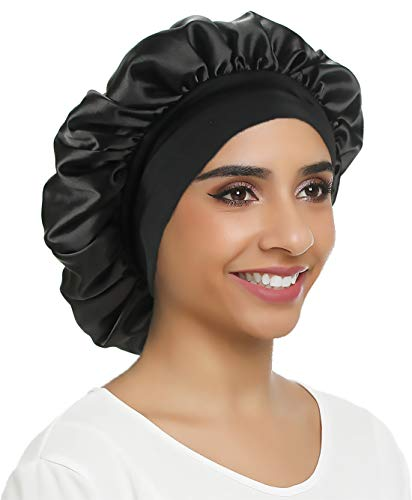 Double Layer Satin Bonnet Sleep cap Silky Night hat Wide Elastic Band for Women Hair Loss,Curly Long Hair(Normal size, Black)