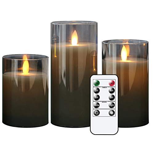 Eldnacele Gray Glass flameless Candles Flickering with Remote, Moving Wick Battery Operated Realistic Warm Light Candle, Set of 3 (D3'' x H4''/5''/6''), for Party Wedding Festival Tabletop Decoration