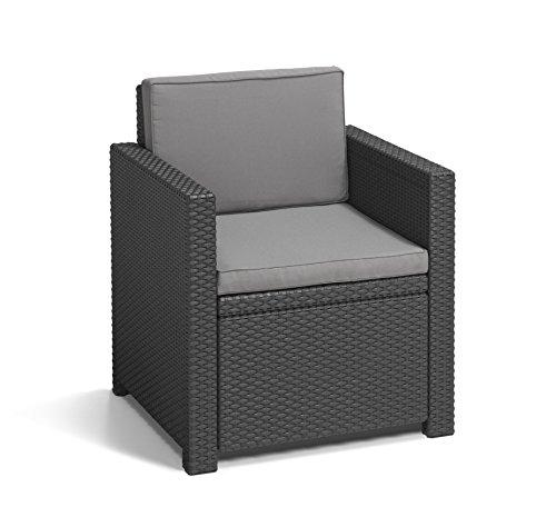 Allibert by Keter Gartenmöbel-Set Monaco, Outdoor-Möbel, 4-Sitzer, aus Rattan, Lounge-Set