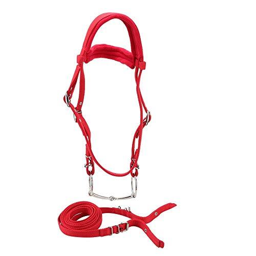 Pssopp Pferdehalfter mit Zügel rot verstellbar Halfter Geschirr Pferd Kopfstützen Pferd Gebiss mit weichem Kissen