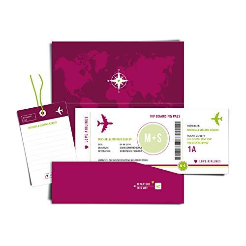 Geld Verpackung Boarding Pass Flugticket als Geldgeschenk - personalisierte Hochzeitskarte/Glückwunschkarte (mit Namen und Datum) für Flitterwochen/Hochzeitsreise (PURPUR)