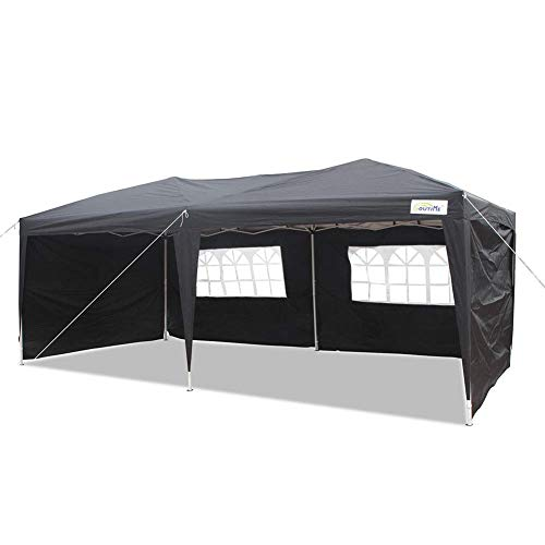 GOUTIME 10 X 20 feet Halloween Party Event Instant Tent, Ez Pop up Canopy with Removable Sidewalls and Wheeled Bag (10'x 20', Black)