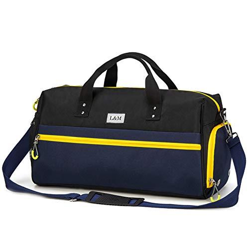 MERRYHE Imperméable à l'eau De Natation Duffle Bags Unisexe Weekend L Bag Cabine Portez Gym Holdall Sports De Plein Air Top-Handle Bag avec Chaussures Compartiment,Blue-48 * 22 * 26CM