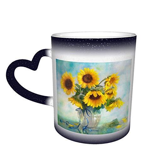Botella de girasoles, cielo estrellado, taza que cambia de color, tazas de café para el hogar, tazas impresas, regalos para amantes de la familia, amigos