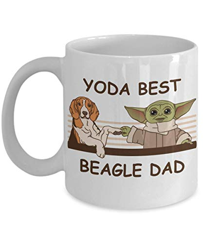 Yoda Best Beagle Dad - Novelty Gift Mugs for Dog Lovers - Co-Workers Birthday Present, Anniversary,...