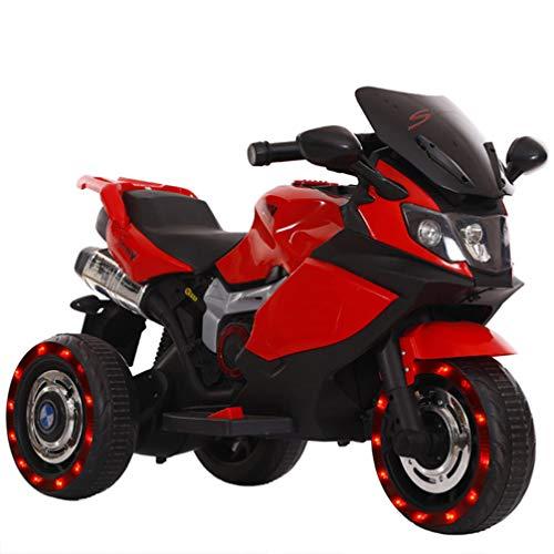 ZKHD Kinder Dual-Drive-Fernbedienung Elektrische Dreirädriges Motorrad, Sitzen Auf Menschen, Jungen Und Mädchen, Elektroautos, Babyspielzeugautos,Rot