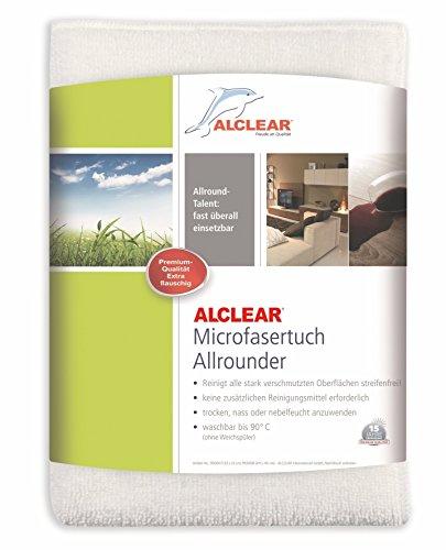 ALCLEAR 950008 Ultra-Microfasertuch Allrounder Maxi für beinahe alle Oberflächen, Hohe Reinigungskraft, 25 x 40 cm, Weiß, Anzahl 1