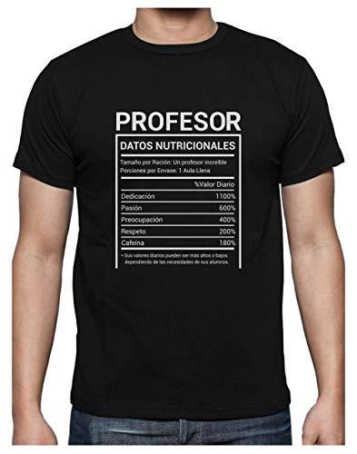 Green Turtle Camiseta para Hombre - Regalo para Profesores - Datos Nutricionales de los Profesores - Medium Negro
