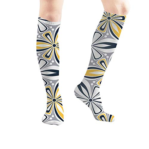 ouyjian Graphic Flower Arabesque Abstract Nature Sport Compression Socks,Athletic Socks,Long Tube Stockings 50Cm/19.7 Inch