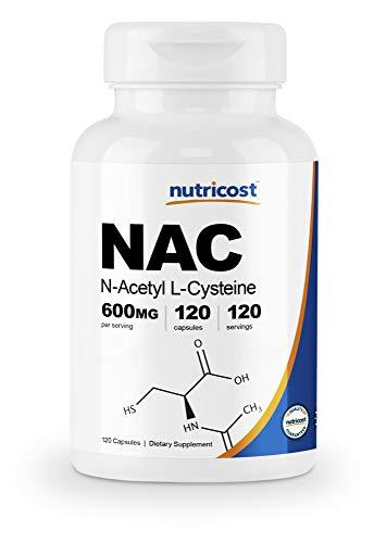 Nutricost N-Acetyl L-Cysteine (NAC) 600mg, 120 Veggie Capsules - Non-GMO, Gluten Free, Vegetable Caps