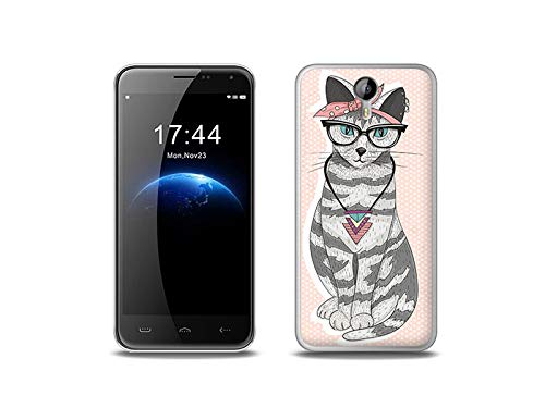 etuo Handyhülle für Doogee Homtom HT3 Pro - Hülle, Silikon, Gummi Schutzhülle - Kätzchen